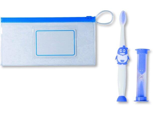 Cepillo de dientes infantil en estuche personalizado azul
