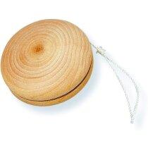 Yoyó de madera con cuerda color blanco personalizado
