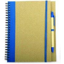 Libreta A5 y bolígrafo a juego en cartón reciclado personalizada azul