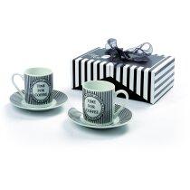 Set de dos tazas de café decoradas con plato barata