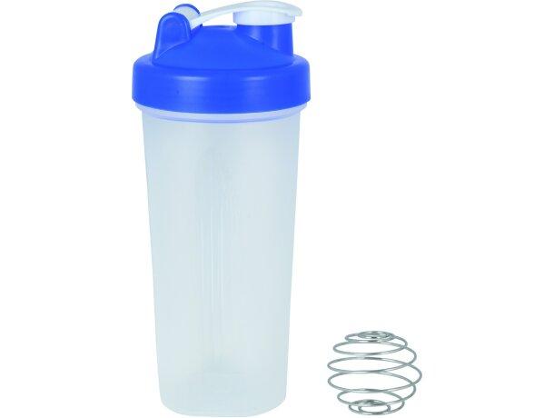 Botella con agitador para batidos grabada azul