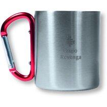 Taza de acero inoxidable con asa mosquetón de colores roja personalizada