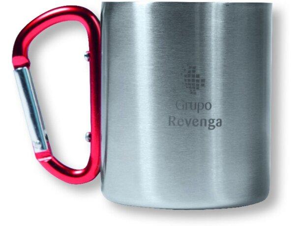 Taza de acero inoxidable con asa mosquetón de colores roja personalizado