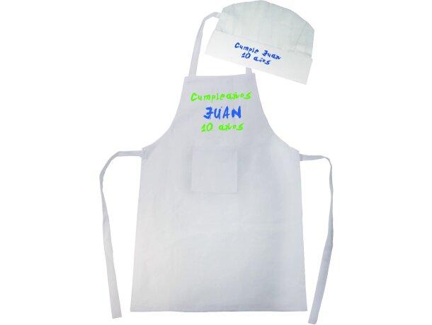 Set de delantal y gorro cocinero en non woben blanco grabado