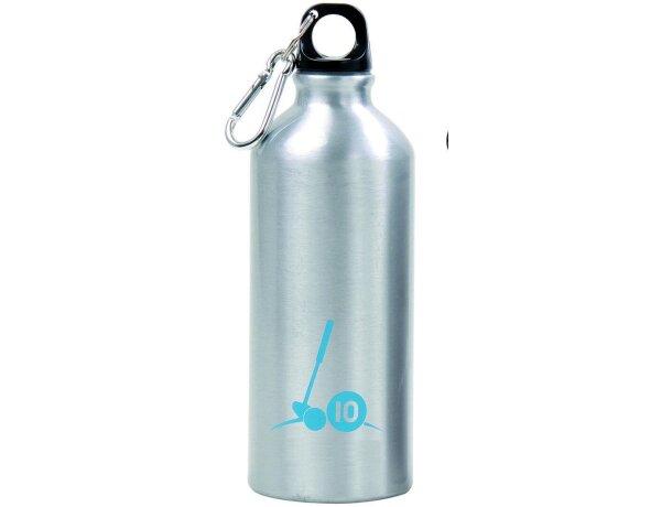 Botella de aluminio brillante con mosquetón plata