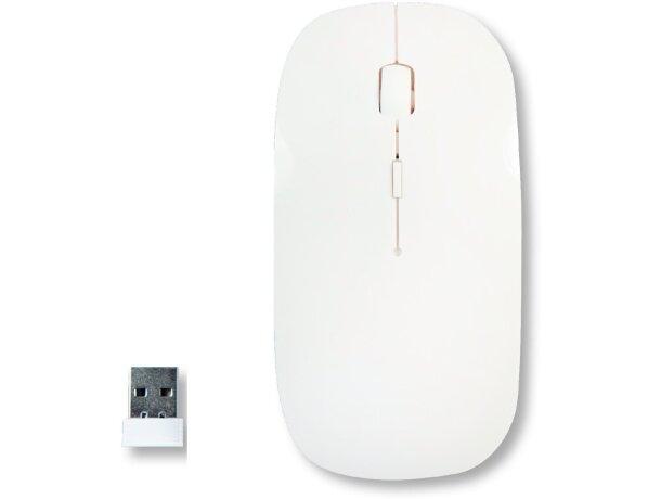 Ratón inalámbrico de diseño moderno con rueda blanco