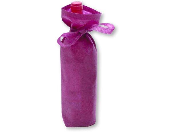 Bolsa de no tejido para 1 botella con lazo personalizada burdeos