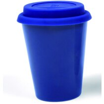 Taza de cerámica de colores con tapa personalizada azul