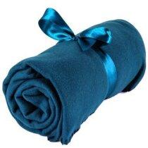 Manta polar de colores con lazo azul