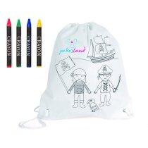 Mochila blanca para colorear con dibujo de piratas