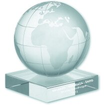 Cristal bolsa del mundo con peana personalizada
