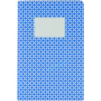 Libreta tamaño A5 con tapas de cartón estampadas para empresas azul