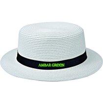 Sombrero de paja recto personalizado blanco