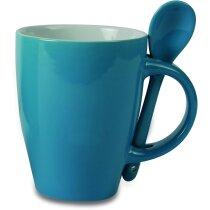 Taza de cerámica con cuchara en colores personalizada azul
