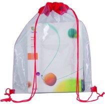 Mochila para niños de plástico transparente roja