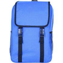Mochila estilo retro con mallas laterales personalizada azul