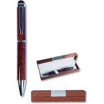 Bolígrafo imitación madera con puntero personalizado