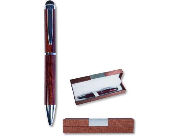 Bolígrafo imitación madera con puntero