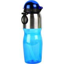 Botella de plástico y aluminio 600 ml personalizada azul
