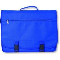 Bolsa de congresos con solapa y bolsillo exterior personalizada azul