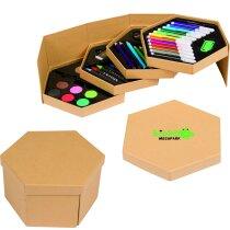 Caja hexagonal de cartón con 52 piezas personalizado