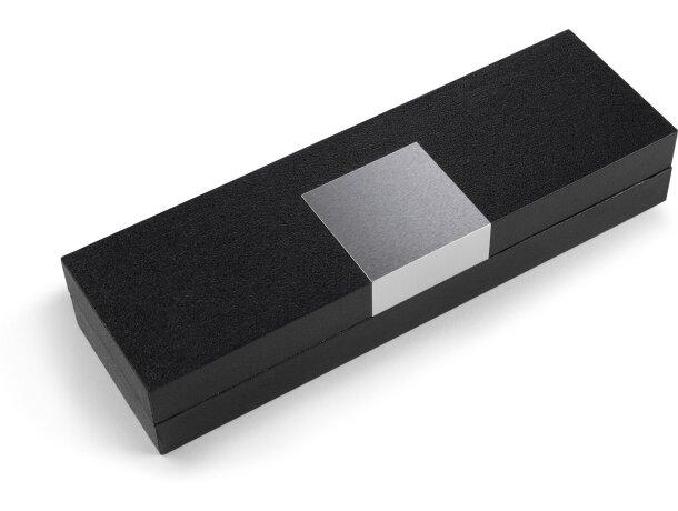 Estuche para bolígrafo en negro con chapa de aluminio personalizado