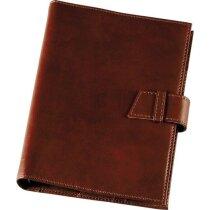 Agenda piel flexible marrón broche y anillas personalizada