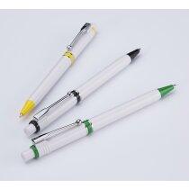 Bolígrafo de plástico blanco con color