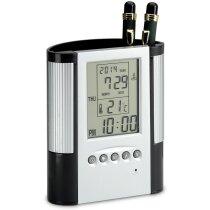 Portalápices con reloj y termómetro personalizado