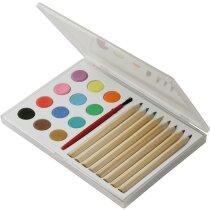 Estuche con lápices y acuarelas para pintar personalizada