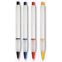 Bolígrafo de plástico con aro de color