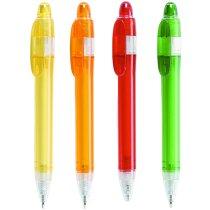Bolígrafo en plástico a colores con detalles transparentes personalizado