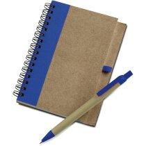 Libreta de cartón reciclado y bolígrafo a juego barata