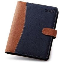 Agenda 6 anillas combinada azul/marrón 13x18cm