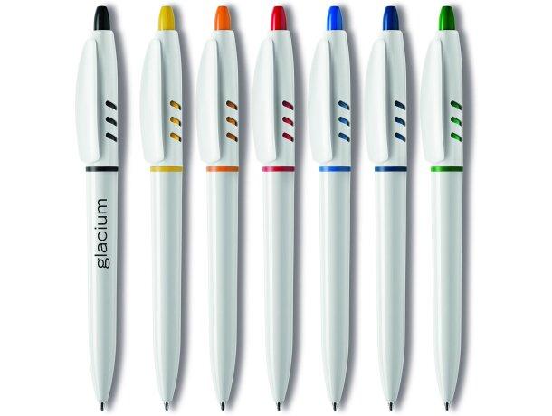 Bolígrafo de plástico en blanco con detalles en color Stilolinea barato