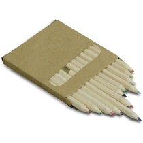 Caja de 12 lápices cortos de madera grabado