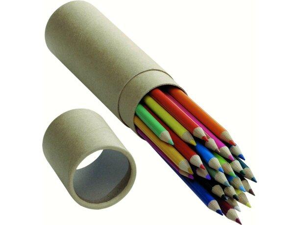 Estuche redondo con 24 lápices de colores personalizado
