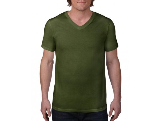 Camiseta Ring-spun cuello en V de hombre