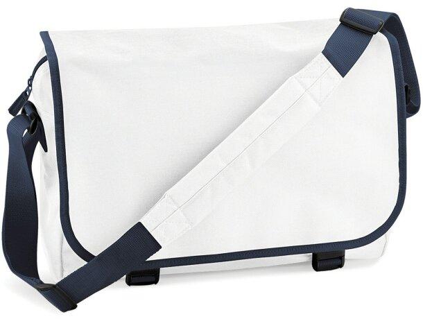Bolsa de mensajero con correa ajustable blanco y azul