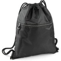 Mochila con cuerdas con bolsillo delantero personalizada negra