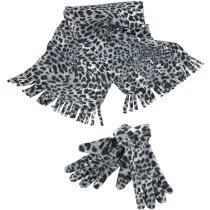 Set de guantes y bufanda diseño leopardo de las nieves personalizada negro/blanco