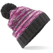 Gorro acabado lana para el frío y decorado personalizado gris