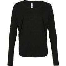 Camiseta Flowy manga larga 2x1 mujer negra