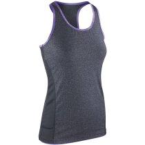 Camiseta técnica de atleta de mujer personalizada gris