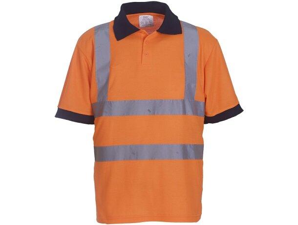 Polo de poliester con bandas reflectantes y con botones personalizado naranja fluor