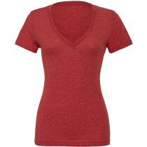 Camiseta cuello en V de mujer naranja