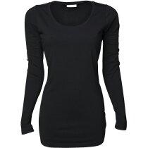 Camiseta manga larga de mujer ajustada 170 gr personalizada negra