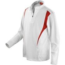 Camiseta técnica de trial manga larga 185 gr con logo blanca/roja