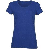Camiseta cuello en V ligera 135 gr grabada azul