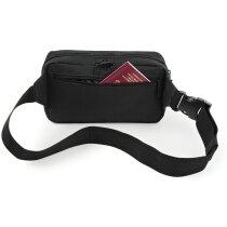 Riñonera de poliéster con cinturón ajustable negra personalizada